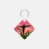 Image of Guarding The Tulips photograph printed on a square key chain.
