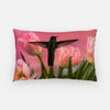 Image of Guarding The Tulips photograph printed on a lumbar pillow.