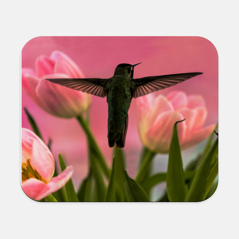 Guarding The Tulips photograph printed on a rectangular mouse pad.