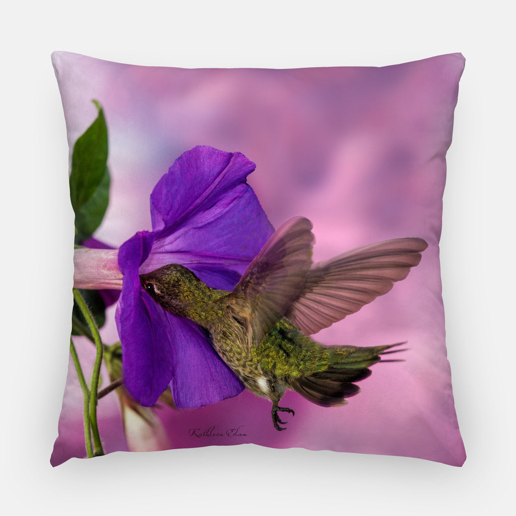 pillow printed with a purple morning glory and a hummingbird