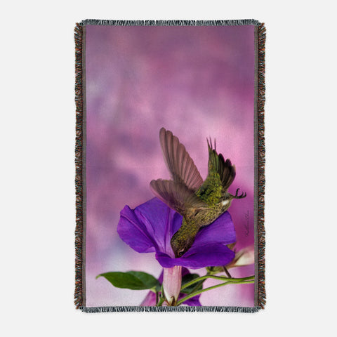 Morning Glory photograph printed on a woven blanket.