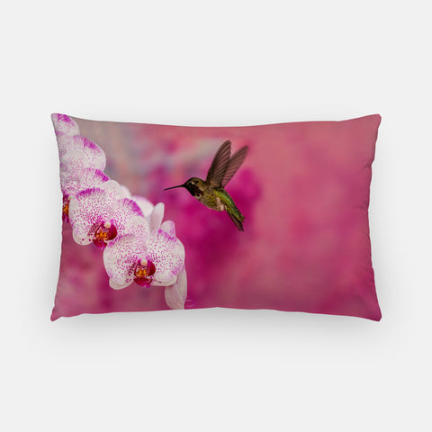 Orchid Attraction 2 photograph printed on a lumbar pillow.