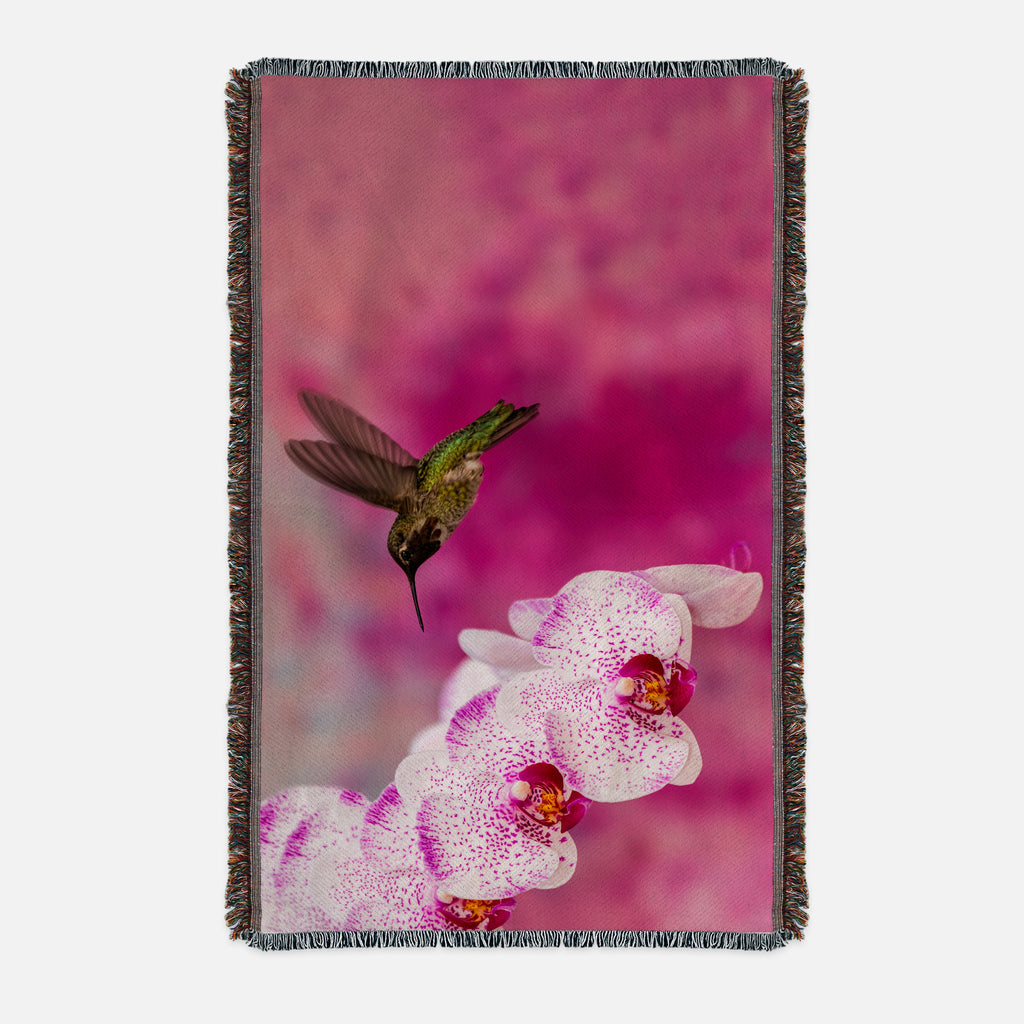 Orchid Attraction 2 printed on a woven blanket.