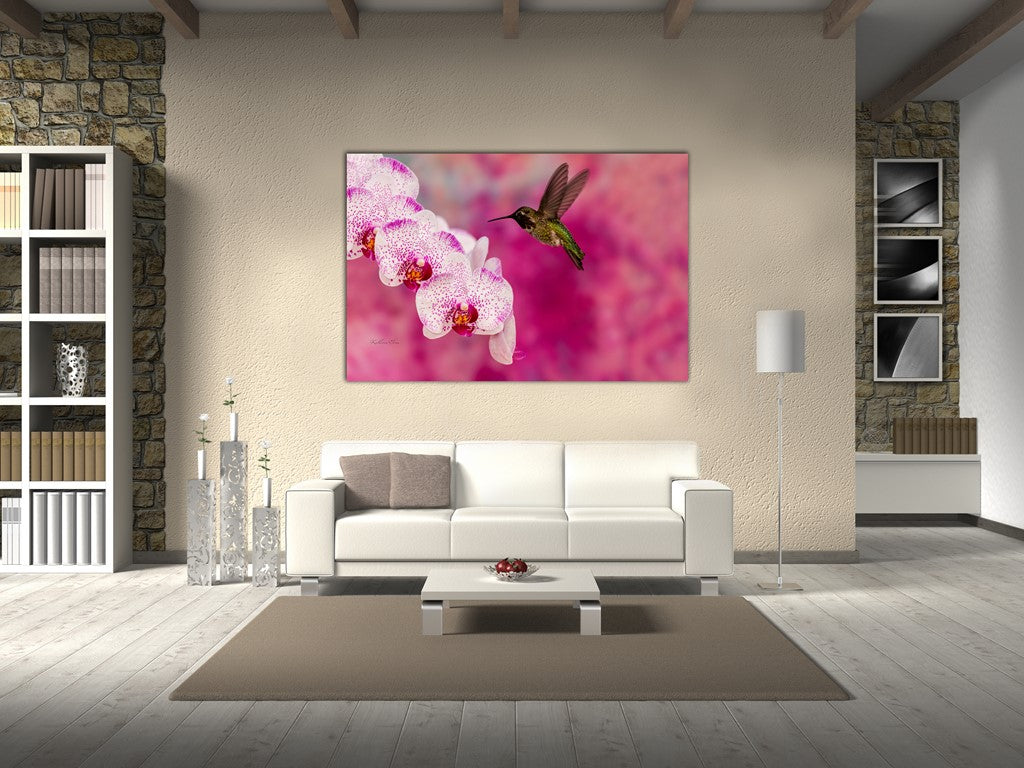 Picture of Orchid Attraction 2 hanging in a room.