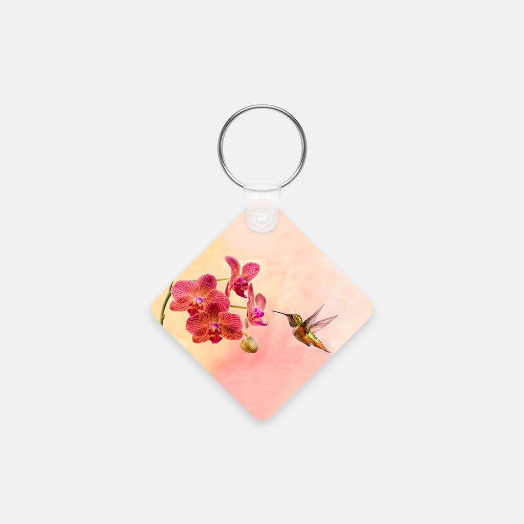 Orchid Attraction 4 photograph printed on a square key chain.