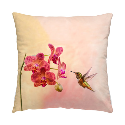 "Orchid Attraction 4 hummingbird photograph on a 16"" square pillow."