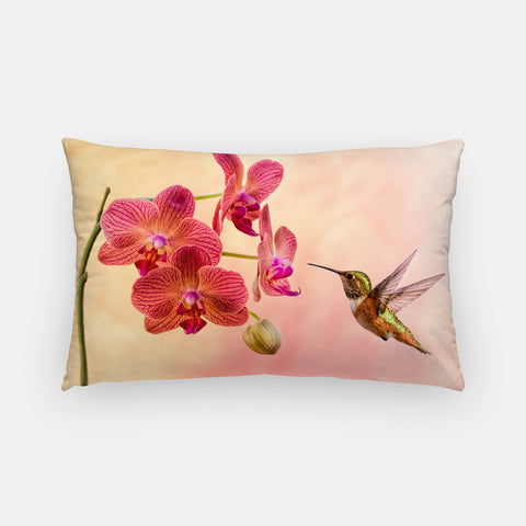Orchid Attraction 4 photograph printed on a lumbar pillow.