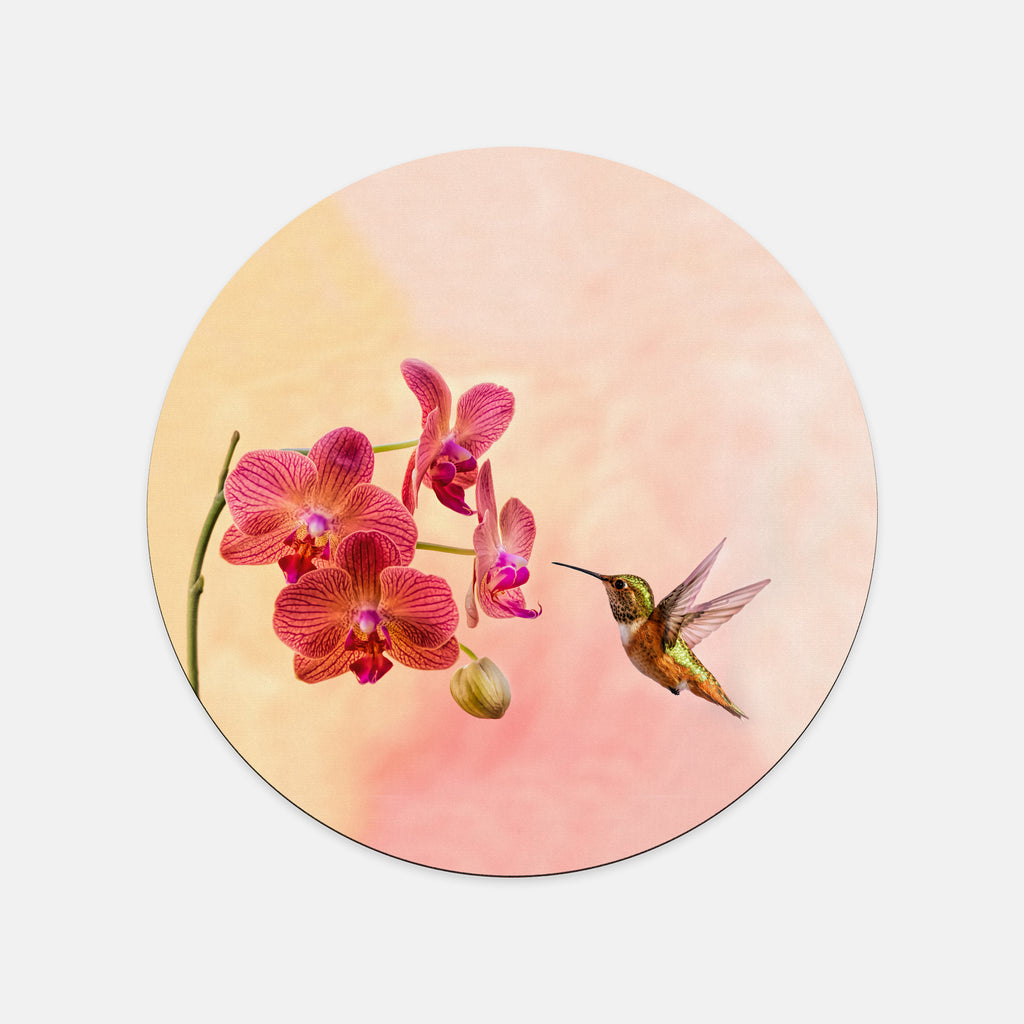 Orchid Attraction 4 photograph printed on a round mouse pad.