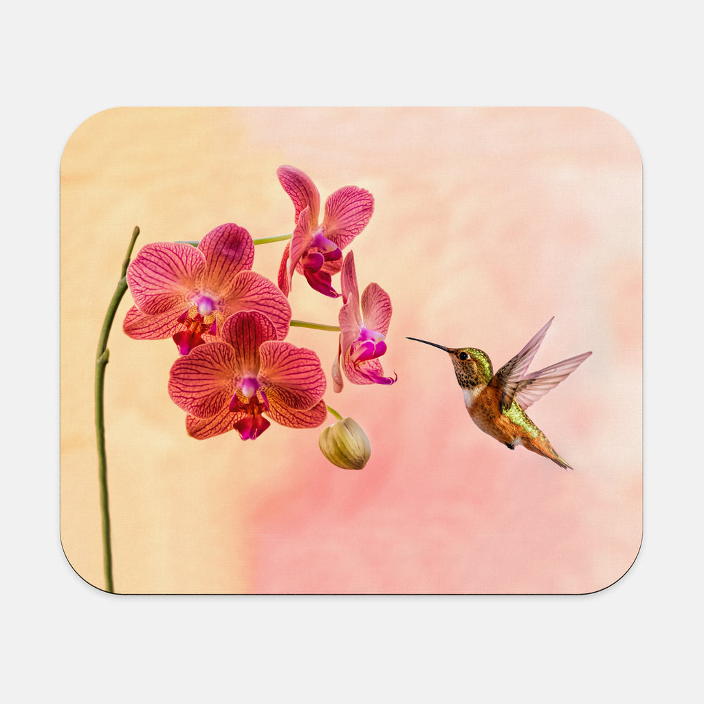 Orchid Attraction 4 photograph printed on a rectangular mouse pad.