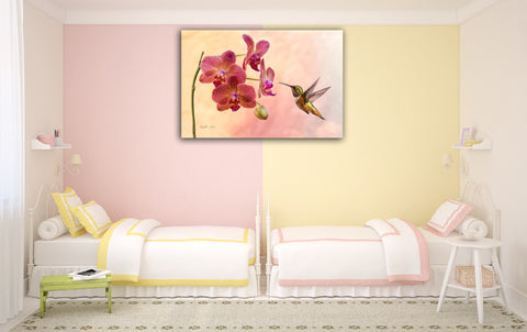 Picture of Orchid Attraction 4 hanging in a room.