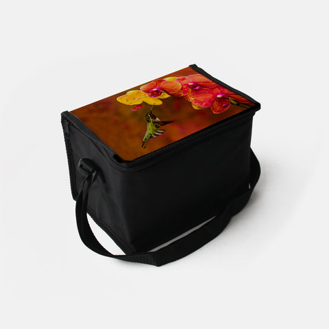 Orchid Attraction photograph printed on a lunch box.