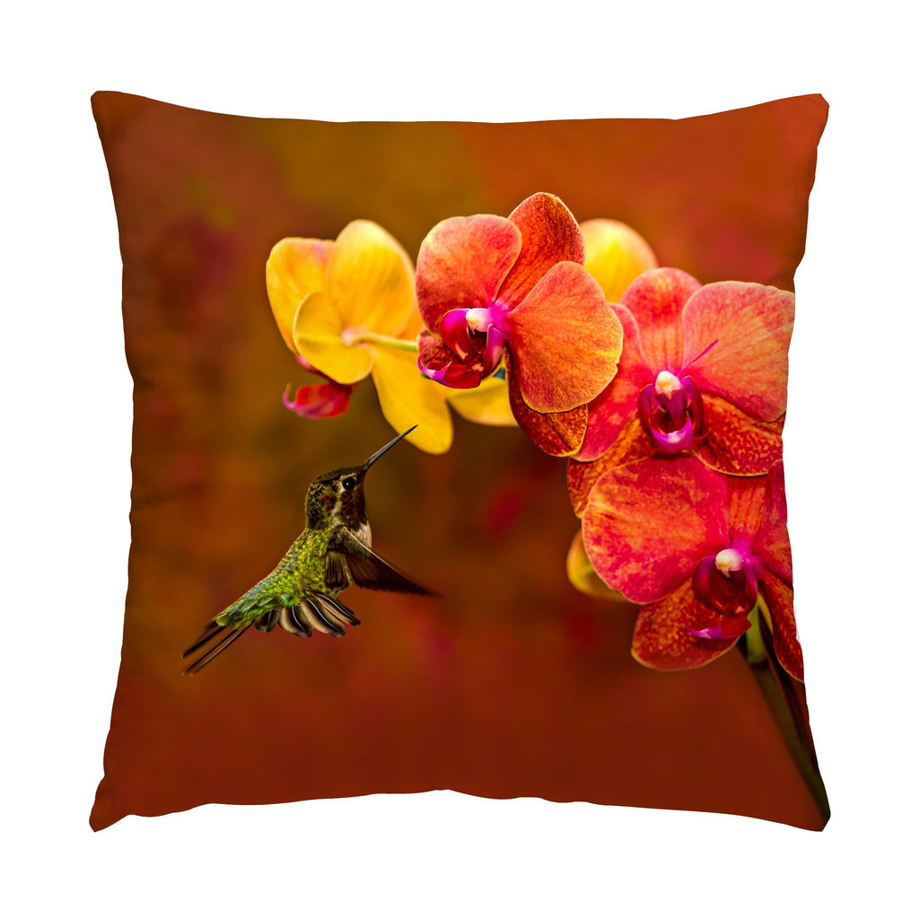 "Orchid Attraction hummingbird photograph on a 16"" square pillow."