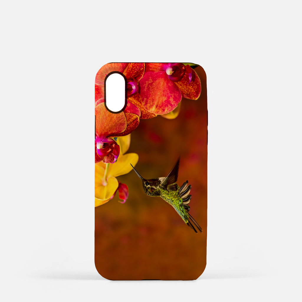 Orchid Attraction photograph printed on an iPhone X case.