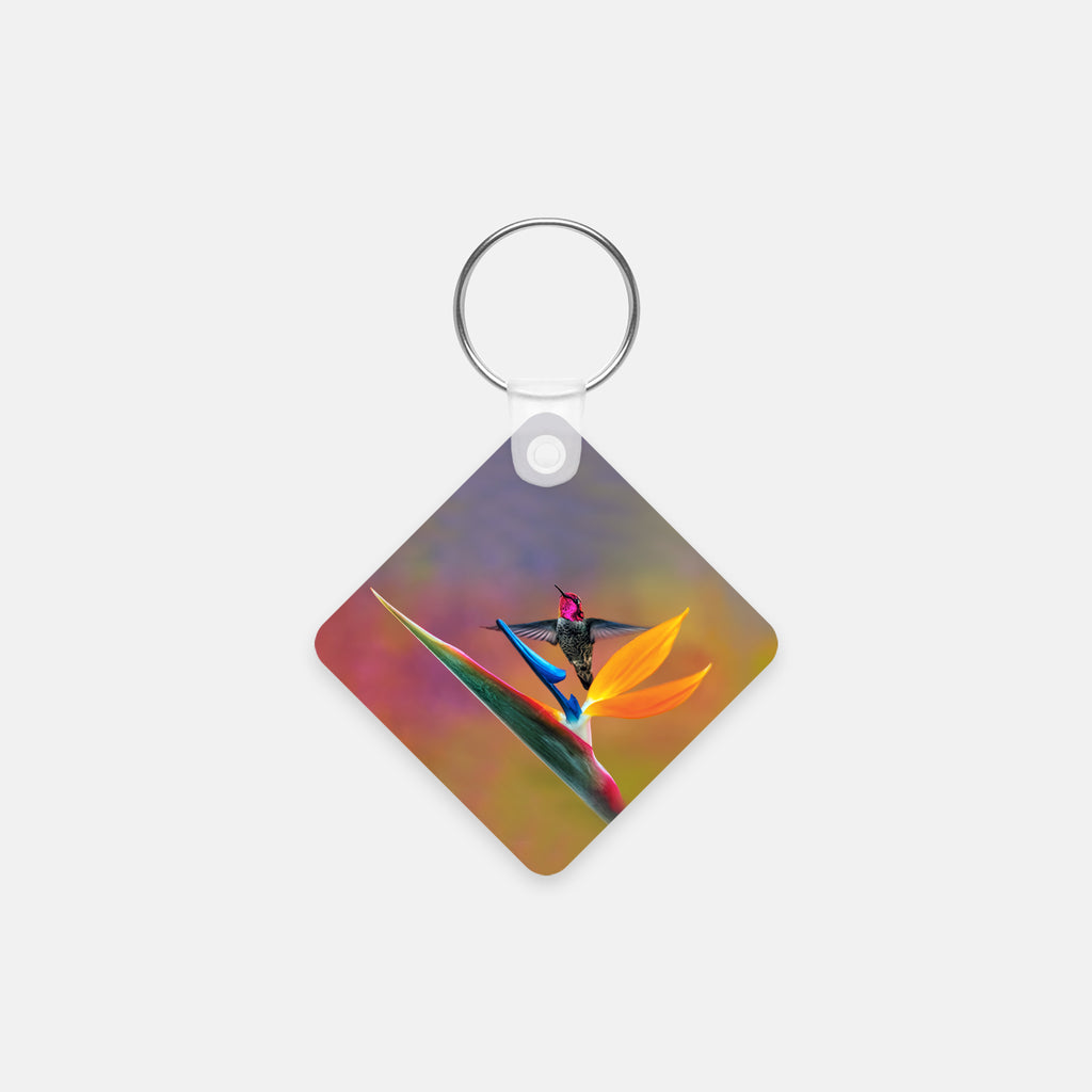 Gorgeous Redhead photograph printed on a square key chain.