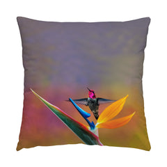 "Paradise Found hummingbird photograph on a 16"" square pillow."