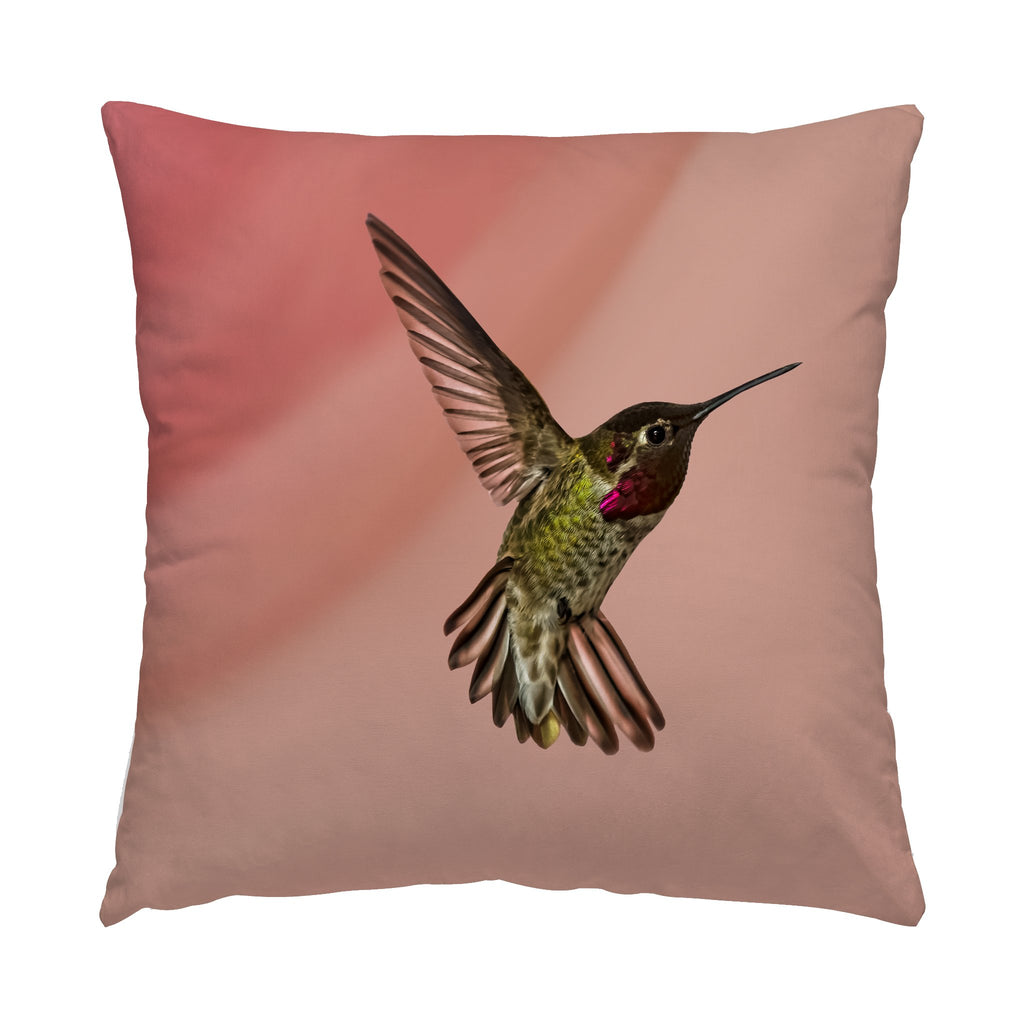 "Showoff hummingbird photograph on a 16"" square pillow."