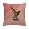 "Image of Showoff hummingbird photograph on a 16"" square pillow."