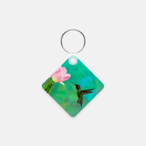 Time To Taste The Tulips photograph printed on a square key chain.