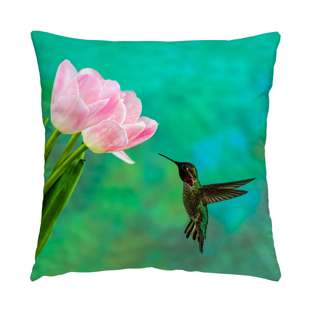 "Time To Taste The Tulips hummingbird photograph on a 16"" square pillow."