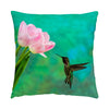 "Image of Time To Taste The Tulips hummingbird photograph on a 16"" square pillow."