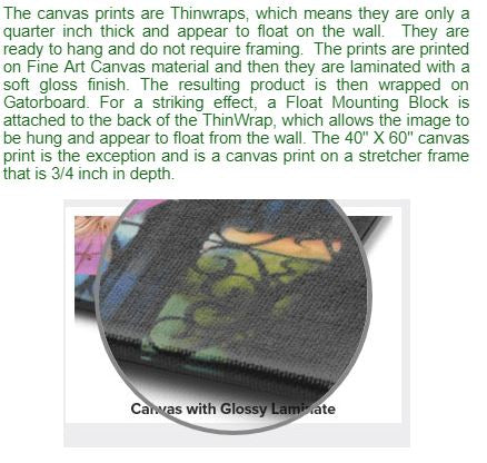 Description of canvas prints and picture of canvas.
