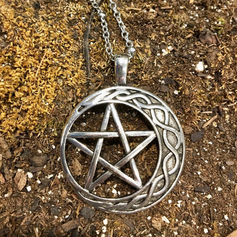 Crescent Moon with Pentacle Necklace