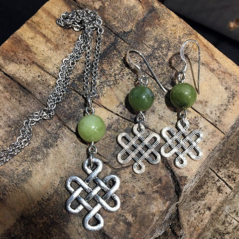Celtic Knot with Connemara Marble Set