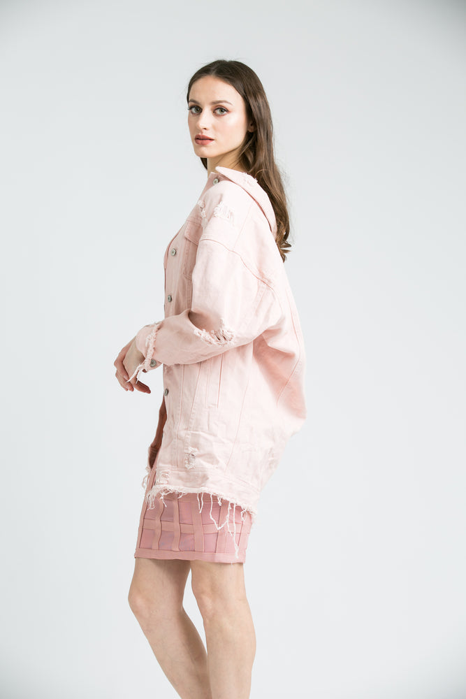 AshLey Pink  Distressed Boyfriend Denim Jacket