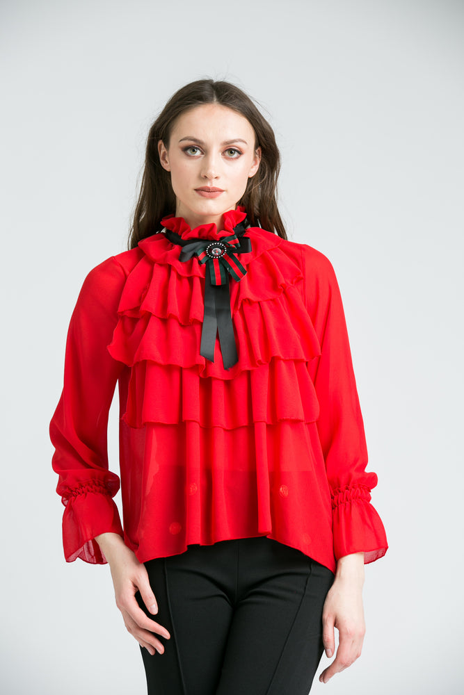 Amie Red Ruffle Top