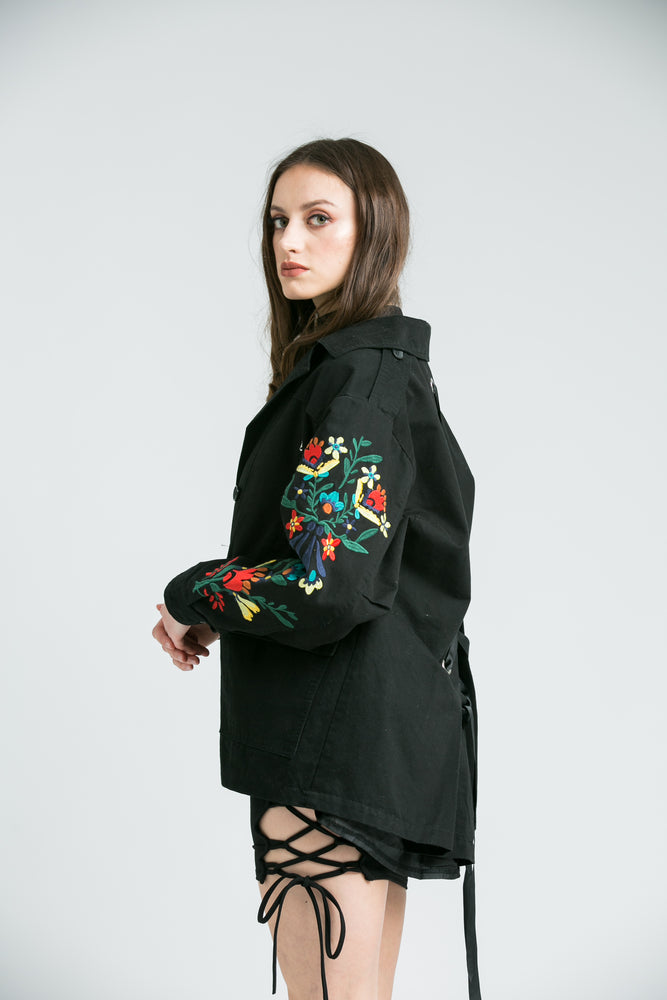 Zoe Flower Embroidered Black Denim Jacket