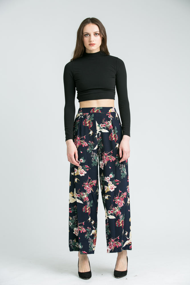 Esther Navy Floral Trousers