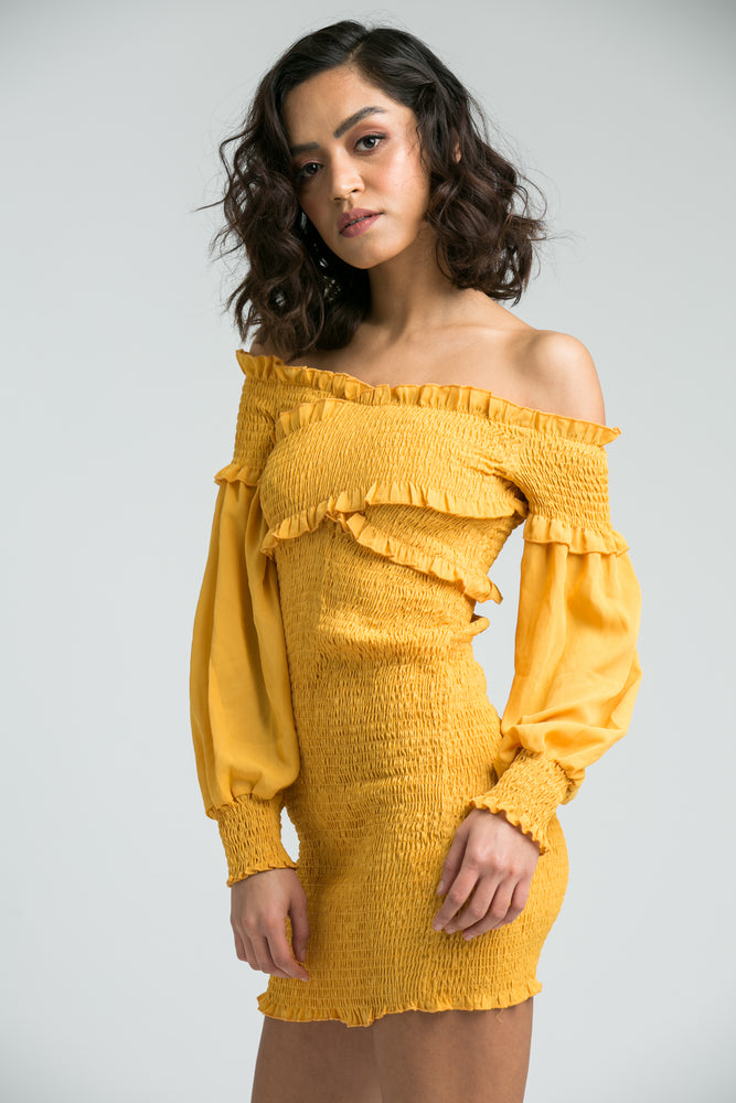 Eva Mustard Mini Dress