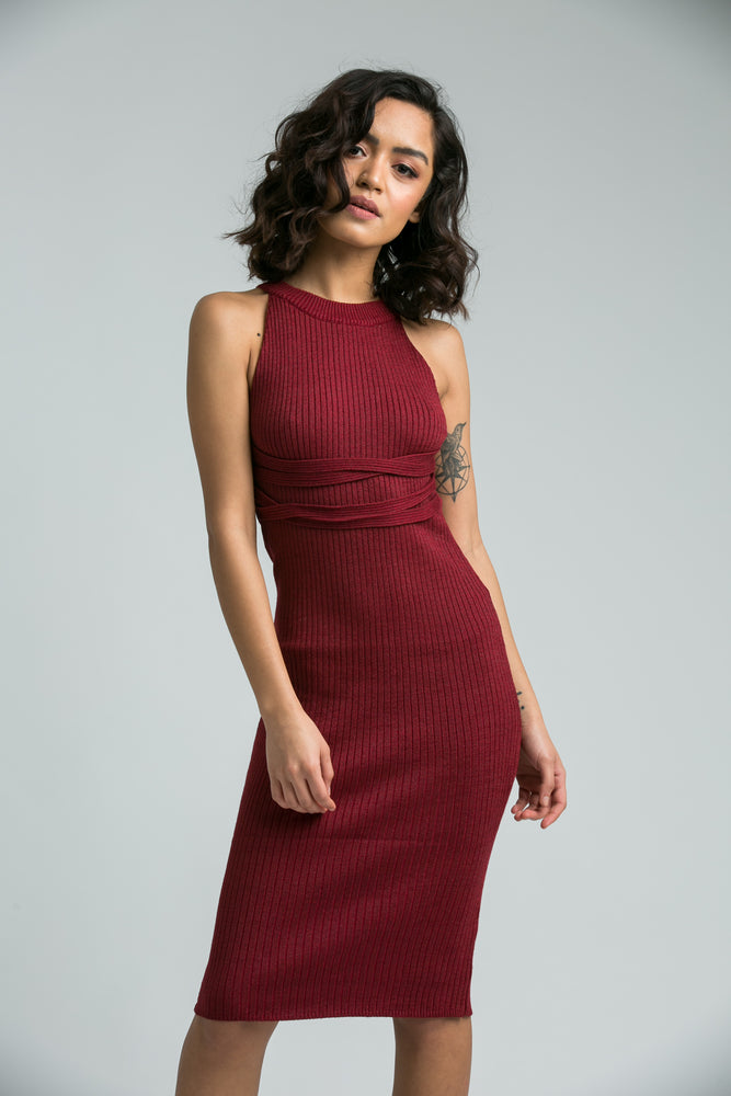 Zuni Maroon Textured Body Con Dress