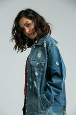 Leah  Distressed Boyfriend Denim Jacket