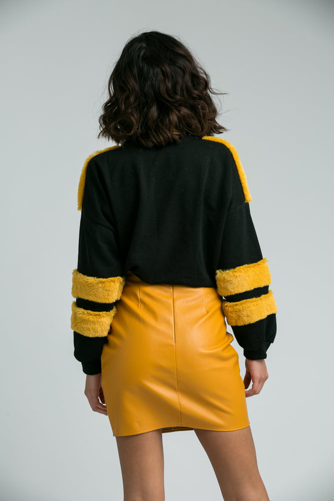 Ella Mustard Faux Leather Zip Detail Mini Skirt