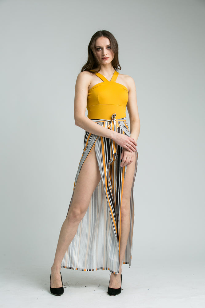 Hayley Striped Mustard Tie Waist Trousers