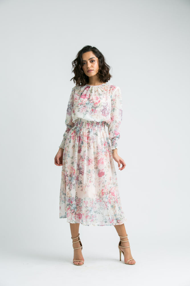 Veronica Nude Floral Chiffon Mini Dress