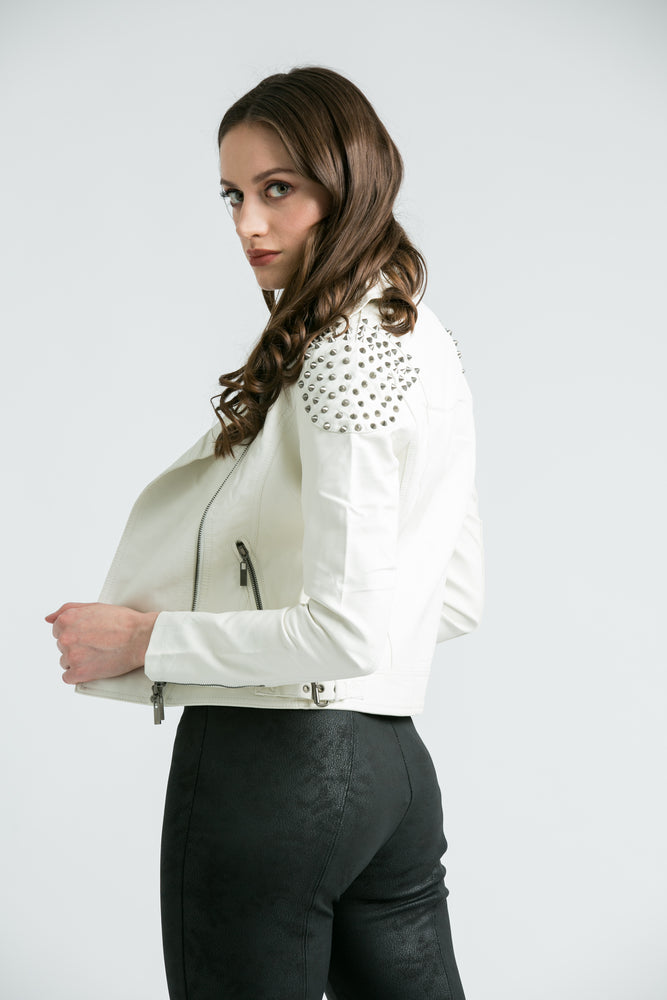 Kendal White Studded Biker Jacket