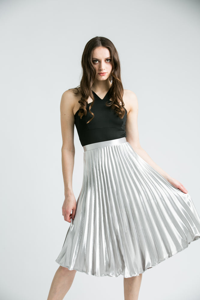 Hazel Silver Pleated Midi Skirt