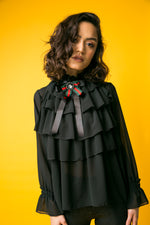 Amie Black Ruffle Top