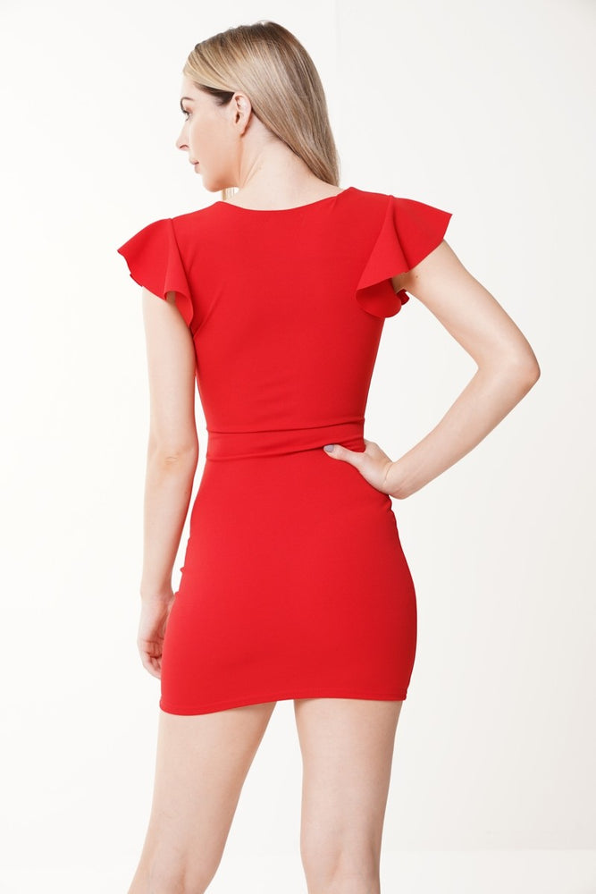 Kendra Red Tie Button Dress
