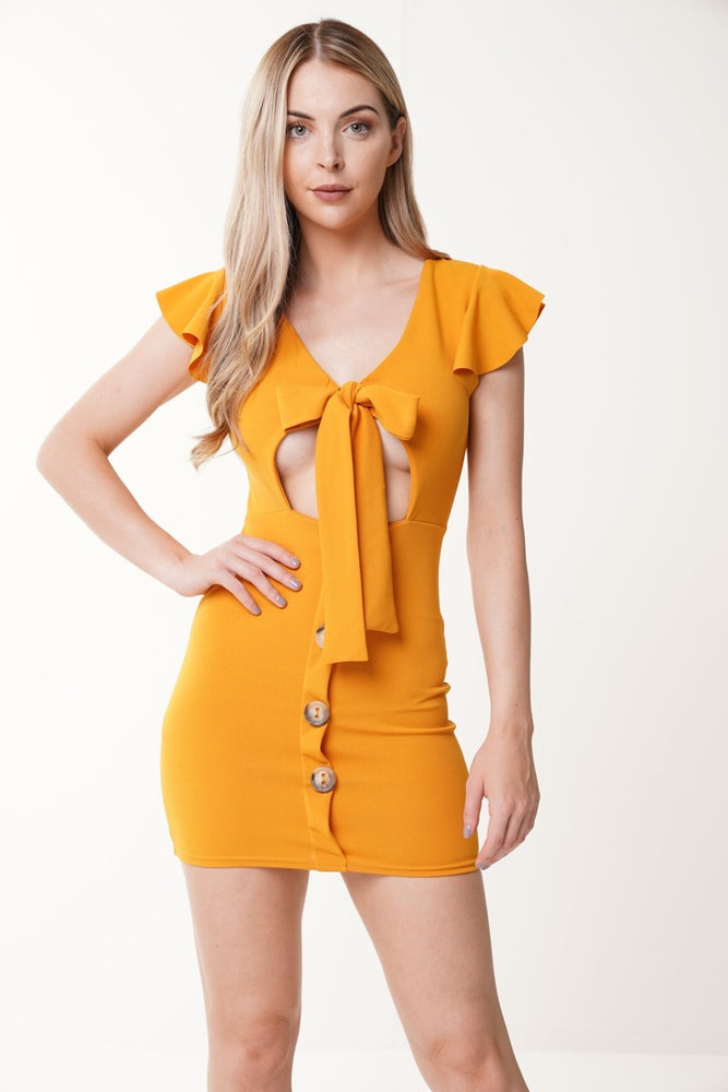 Kendra Mustard Tie Button Dress