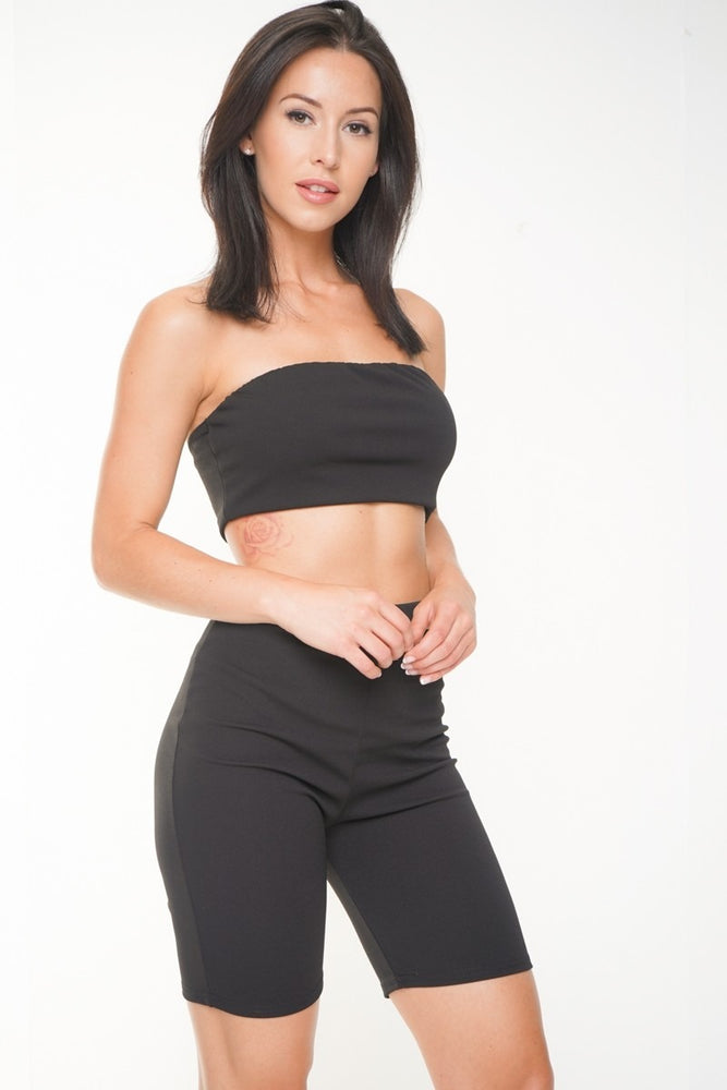Chelsea Black Bandeau Cycle Short  Co-ord