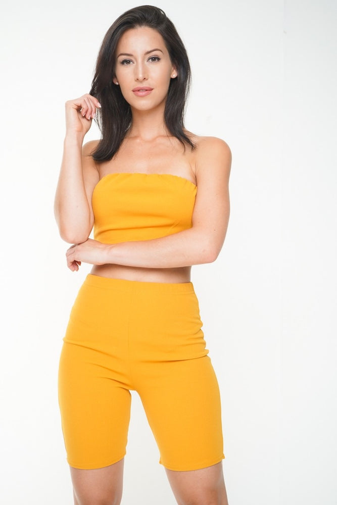 Chelsea Mustard Bandeau Cycle Short  Co-ord