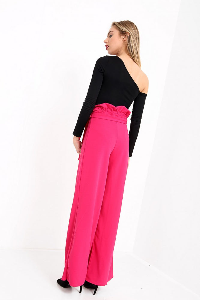 Kelly Red Wide Leg Paper Bag Tie Waist Trousers