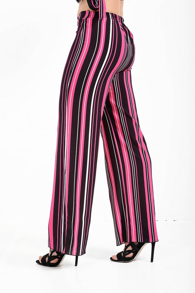 Sophie Pink Striped Wide Leg Trousers