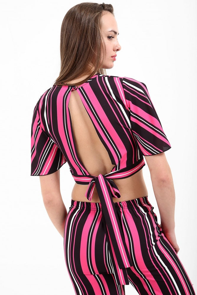 Sophie Pink Tie Knot Striped Crop Top