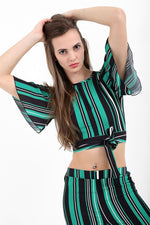 Sophie Green Tie Knot Striped Crop Top