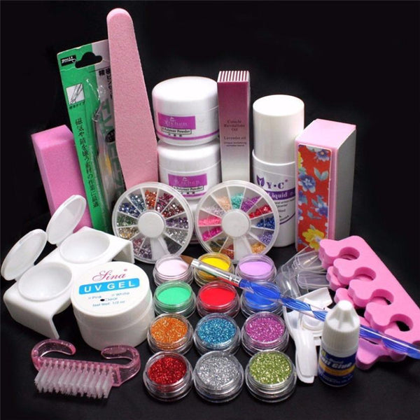21 in 1 Professional Acrylic Glitter Color Powder French Nail Art ...
