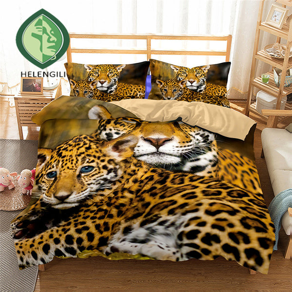 3D Bedding Set Leopard Print Duvet Cover Set Twin Queen King Lifelike  Bedclothes With Pillowcases
